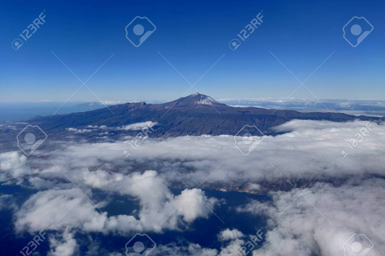 aerial view of volcano Teide on a sunny day, Tenerife, Spain - 137602190