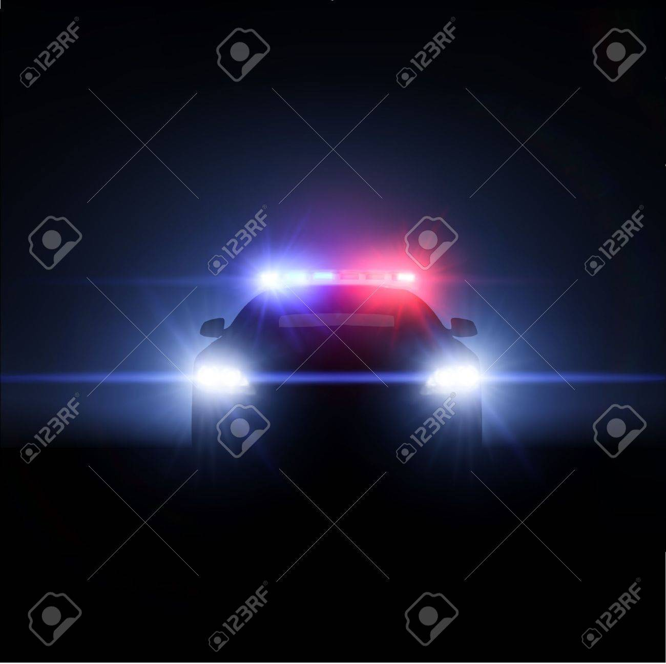 Police car with full array of lights  Vector illustration Stock Vector - 18478172