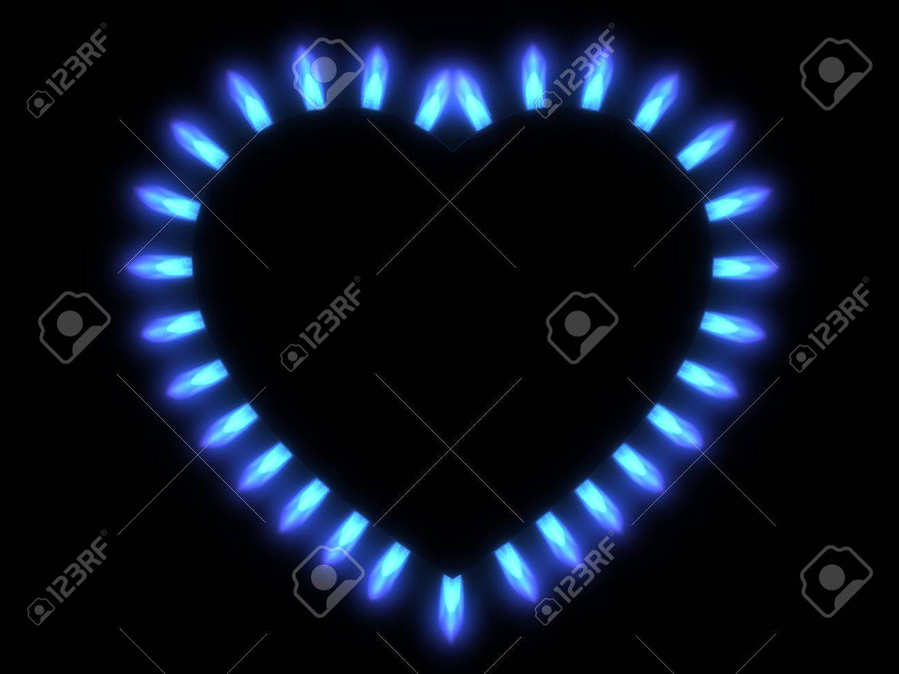 flames of gas stove in the dark Stock Photo - 18637763