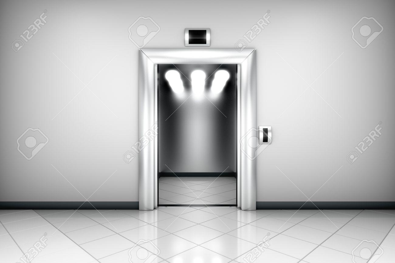 modern elevator doors. modern elevator with open doors stock photo - 19049045 r