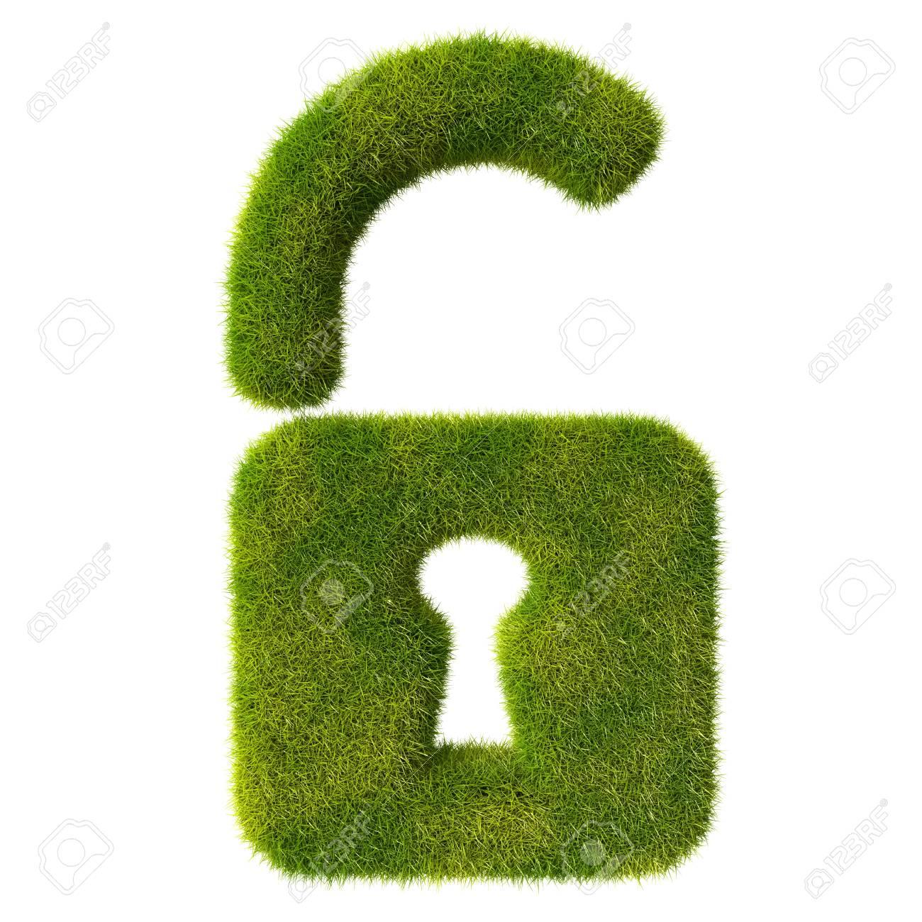 Grass unlocked lock icon Stock Photo - 19166629