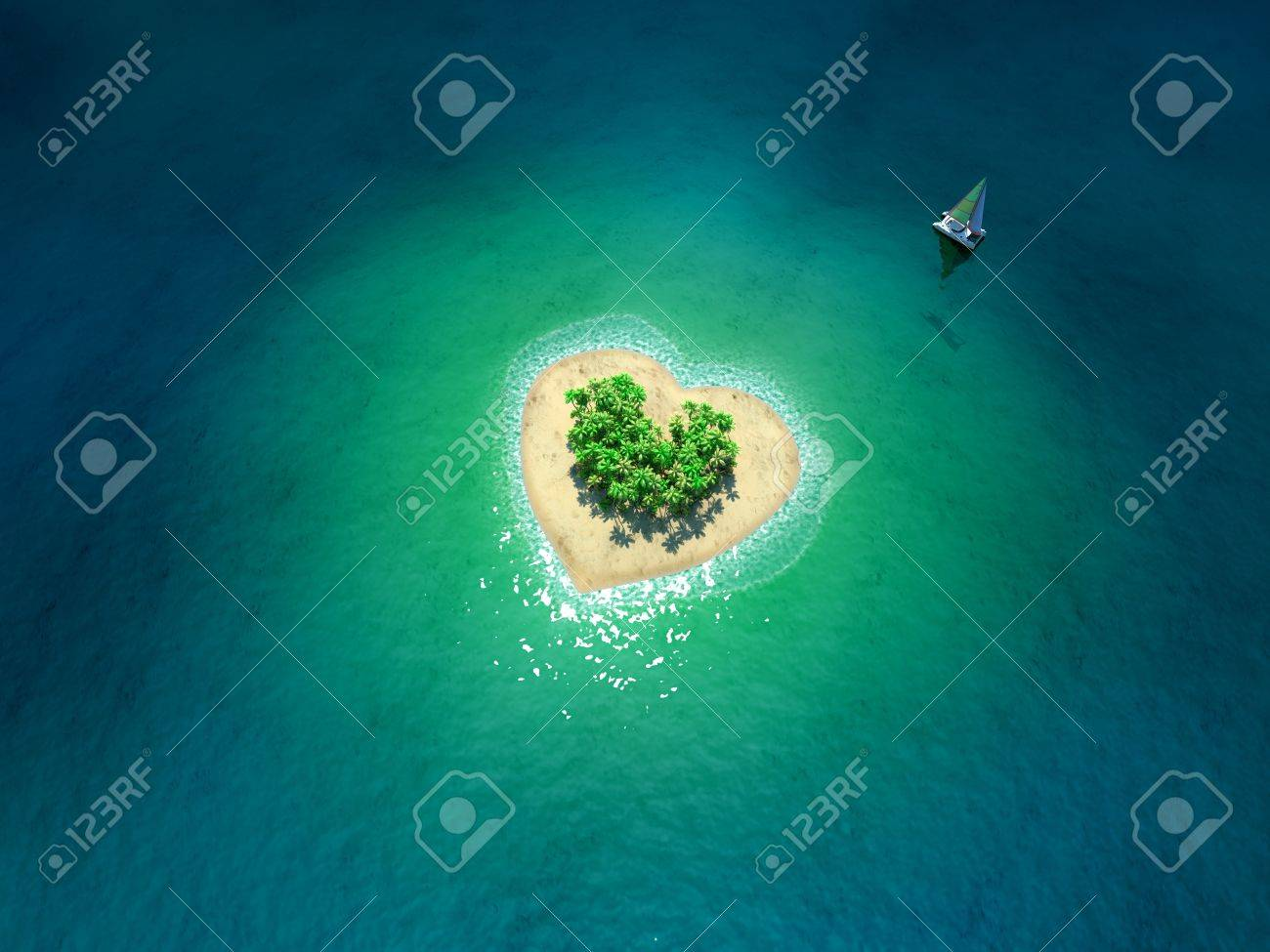 Tropical Island in form of heart - 19434699