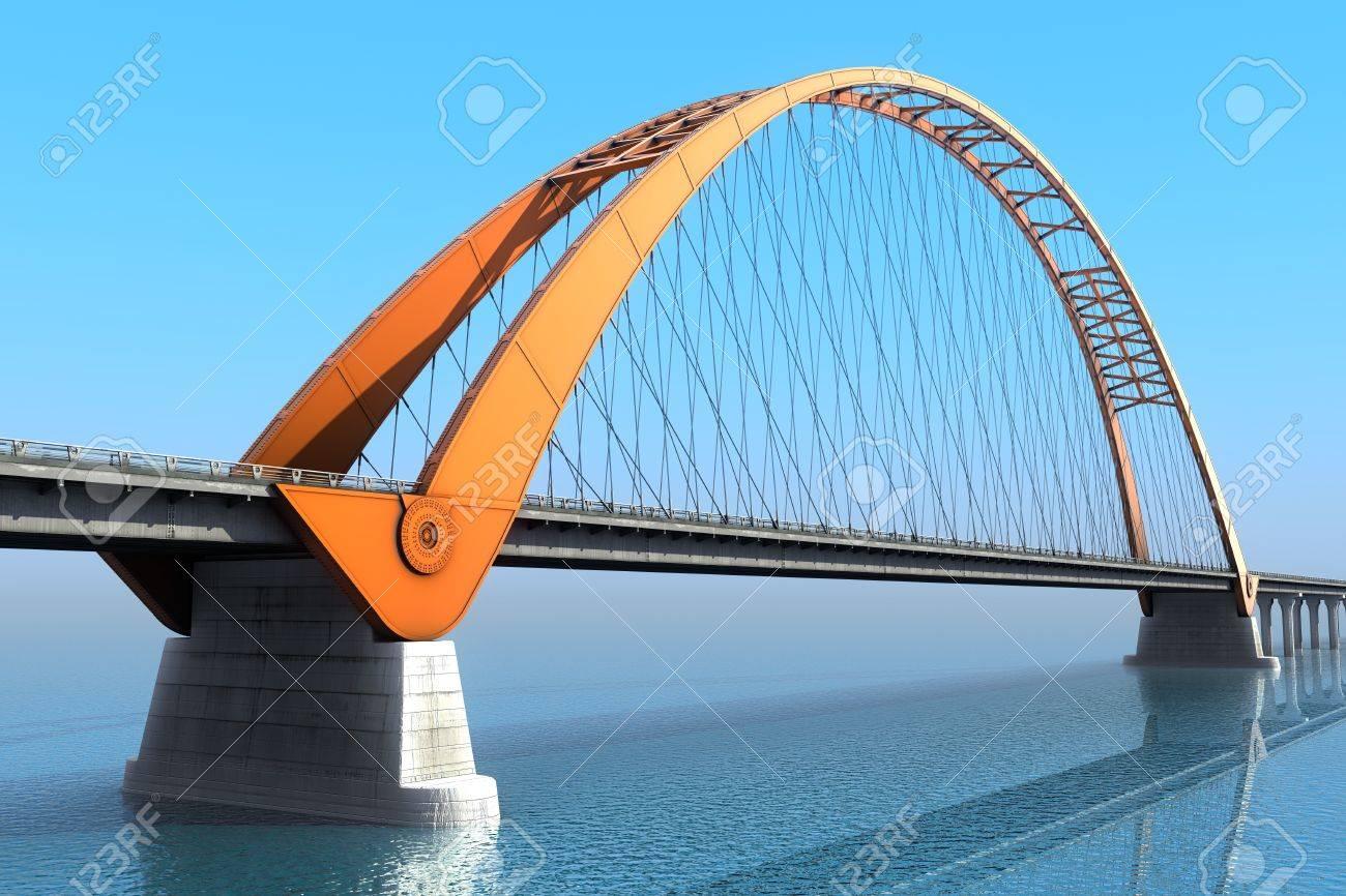 Bridge over the ocean 3d illustration - 19676189