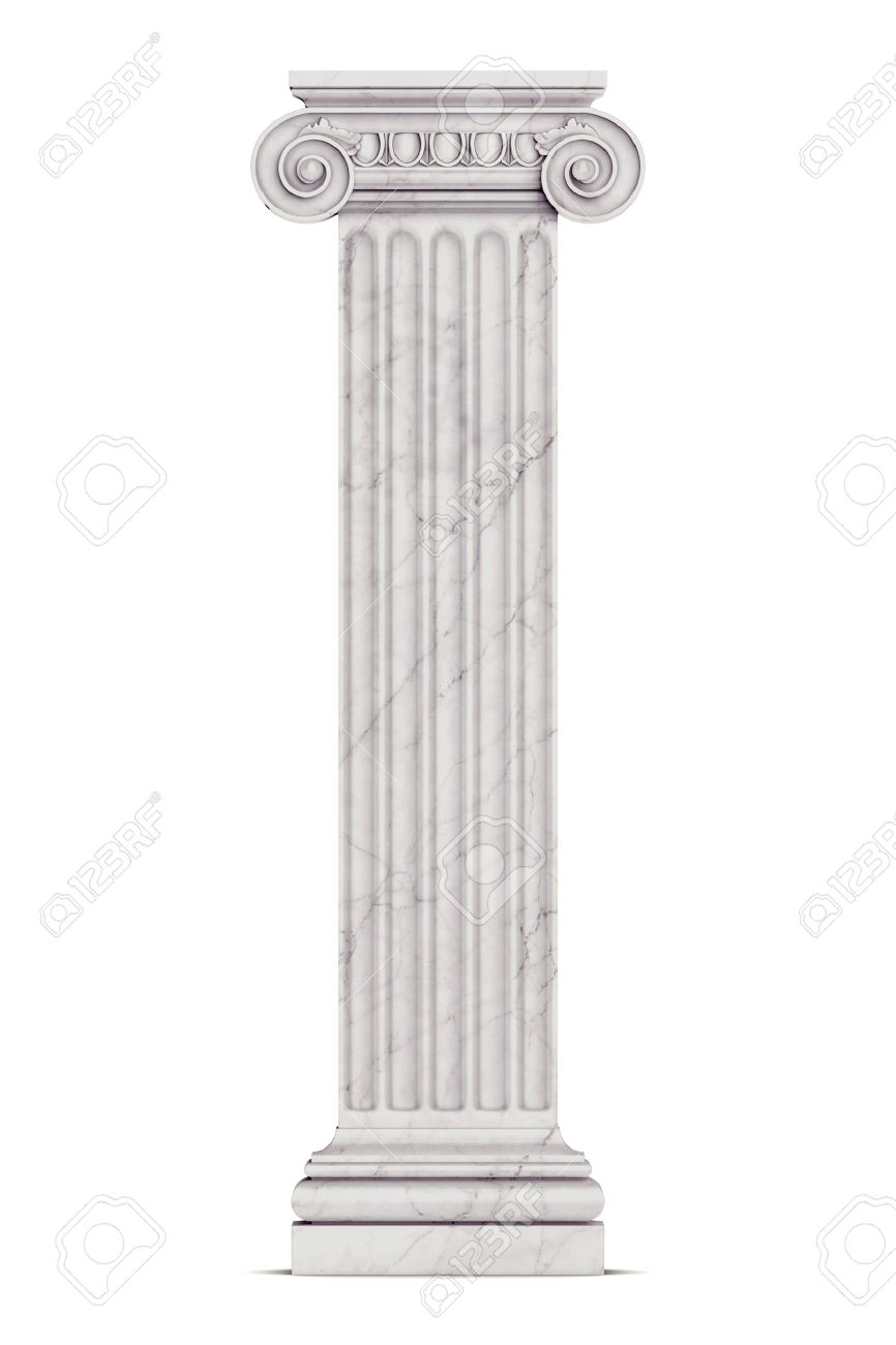 Single greek column isolated on white - 19676121