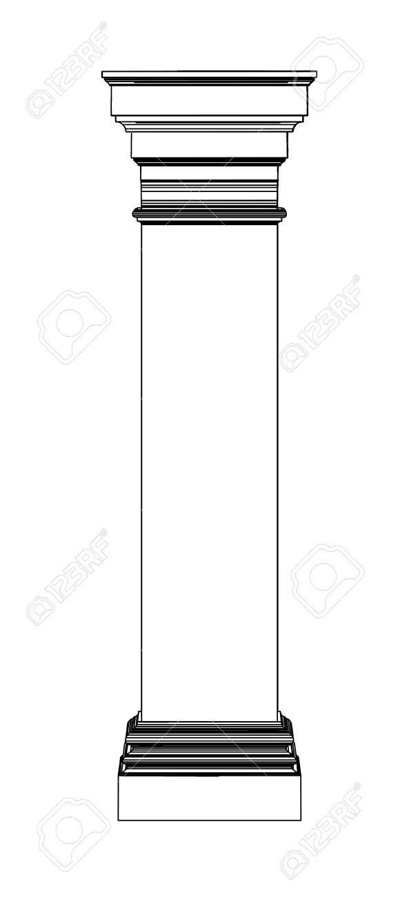 Single greek column isolated on white Stock Vector - 20077043