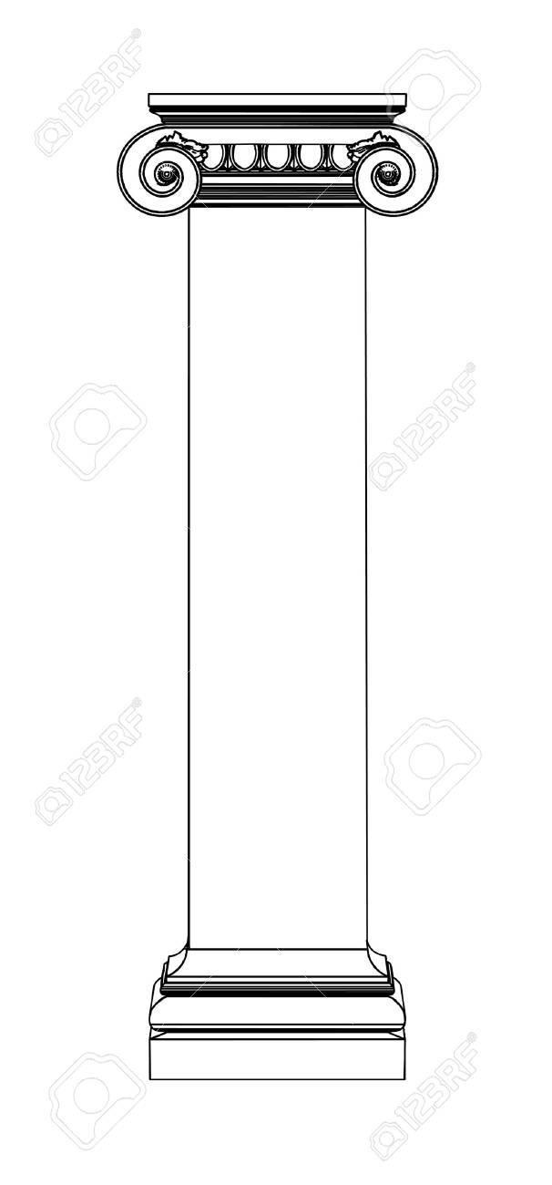 Single greek column isolated on white - 20077047