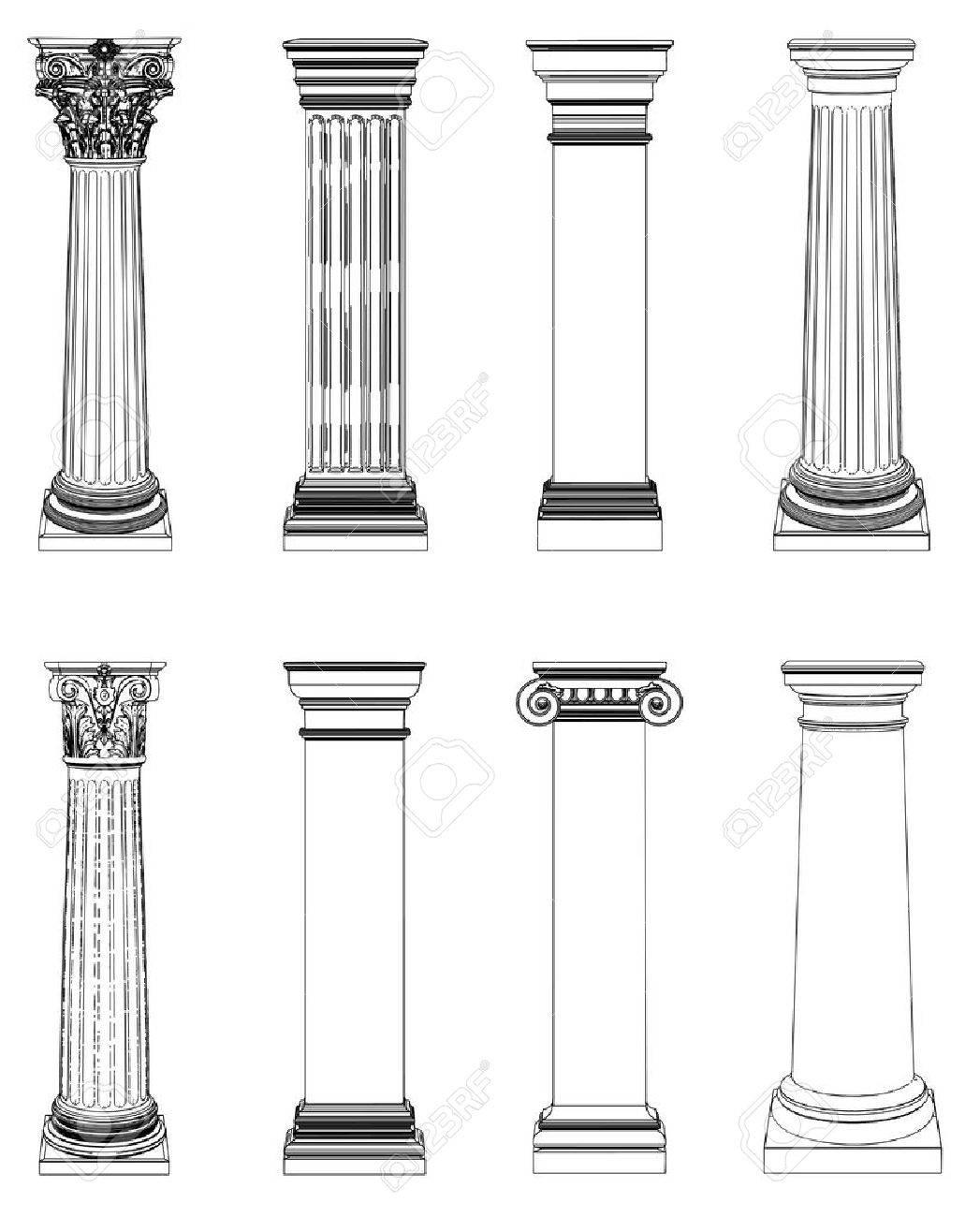 Single greek column isolated on white - 20331258