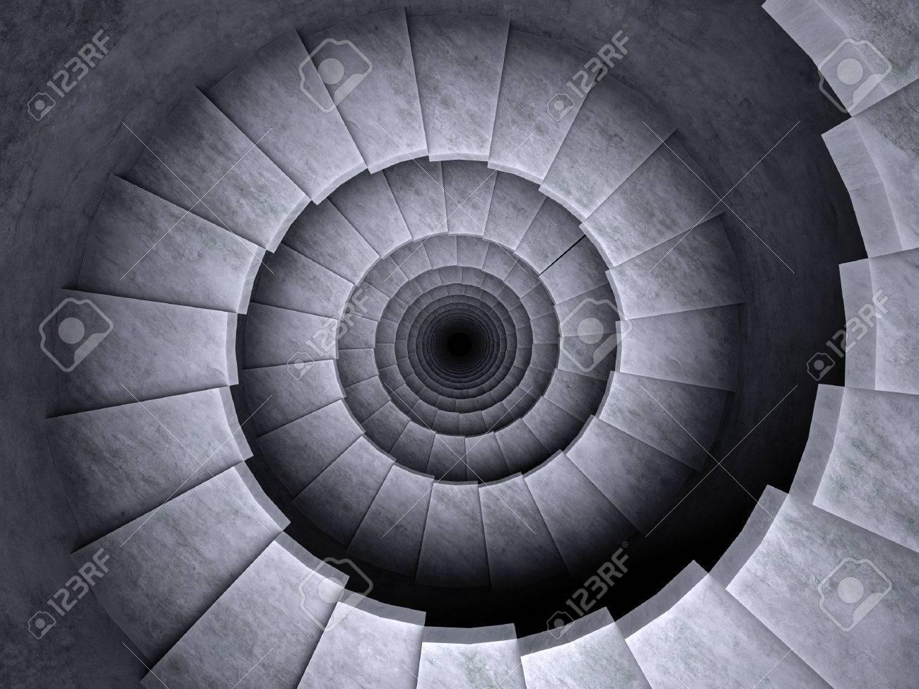 spiral stairs 3d render dark - 23289234