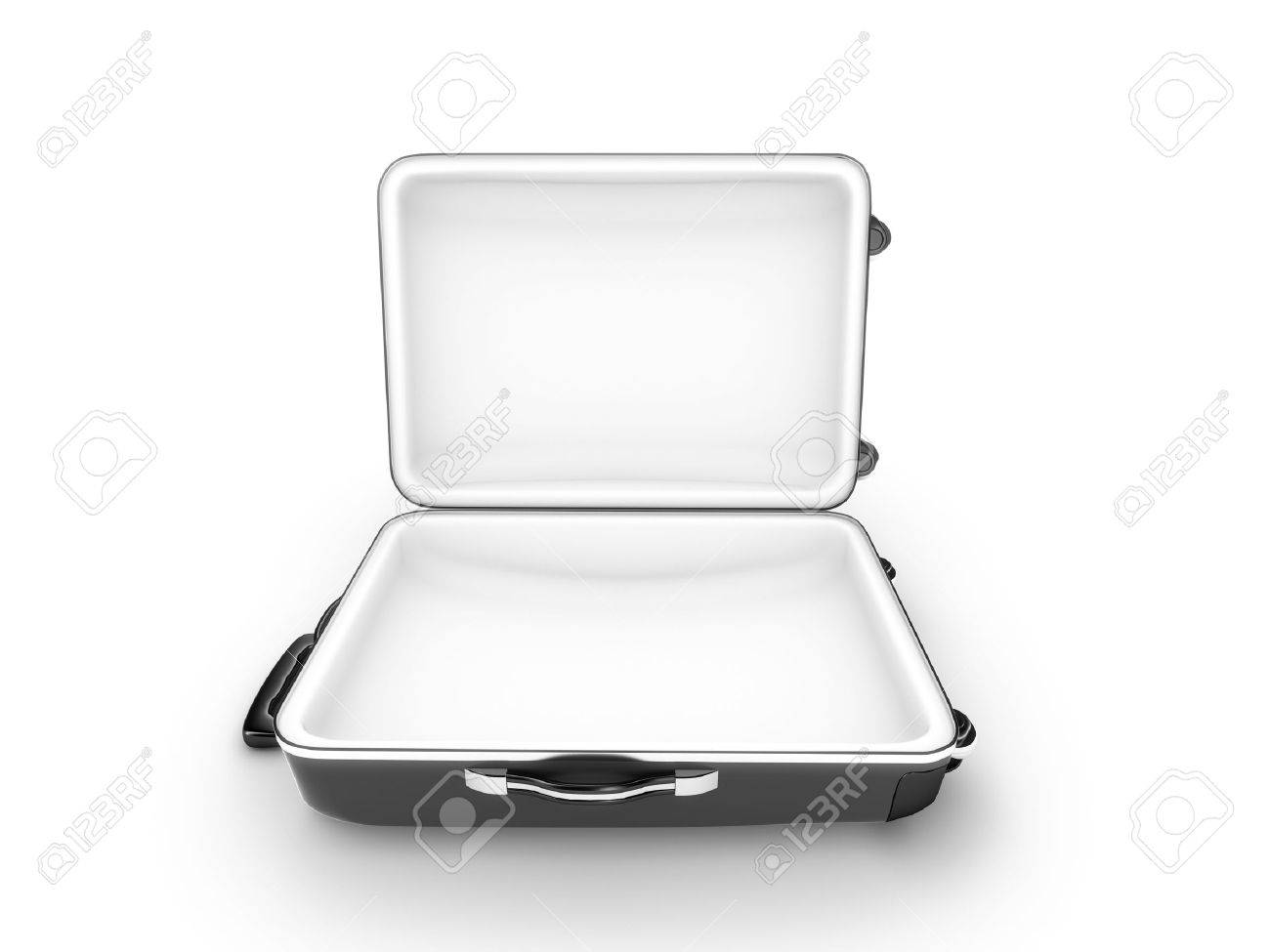 Open metal case isolated on white background - 3d render - 23676816