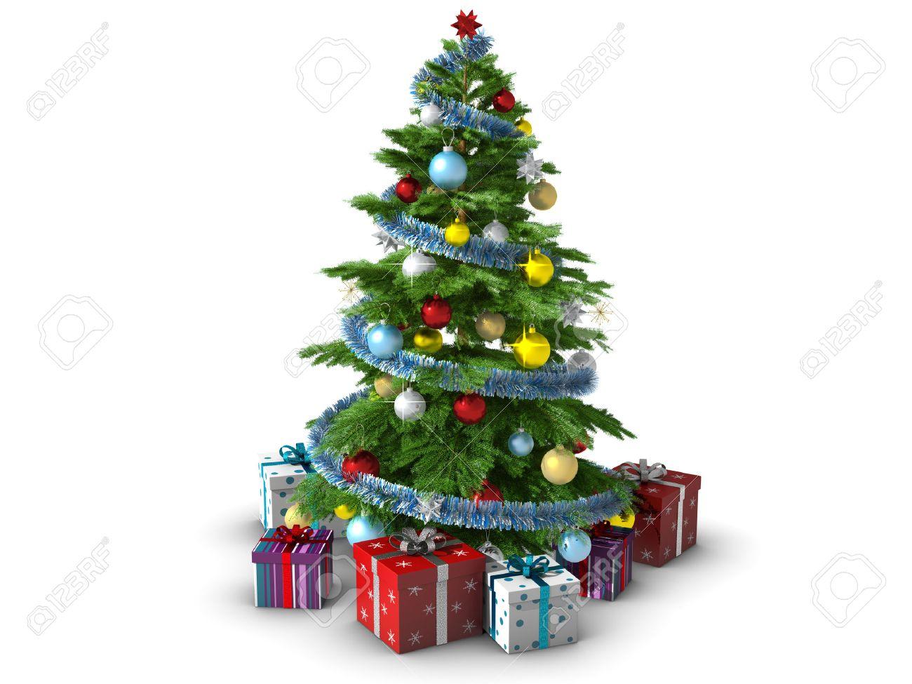 Christmas Tree White Background.Decorated Christmas Tree Isolated On White Background