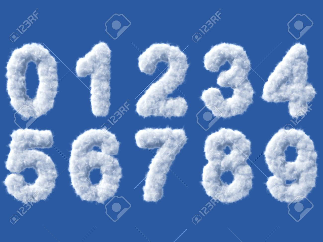 Cloud digits on white, high quality 3d render - 27537974