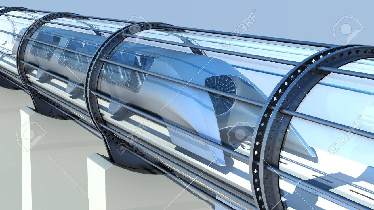 monorail futuristic train in a tunnel. 3d rendering - 67149084