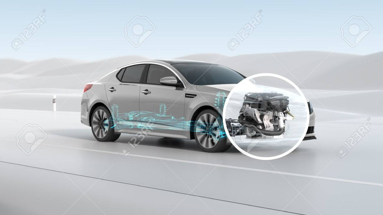 City car structure overview during driving. 3d illustration - 70443011
