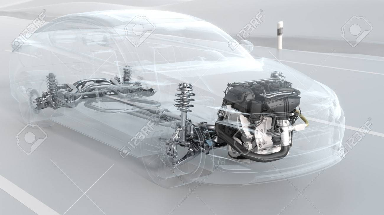 City Car Structure Overview During Driving. 3d Illustration Stock ...
