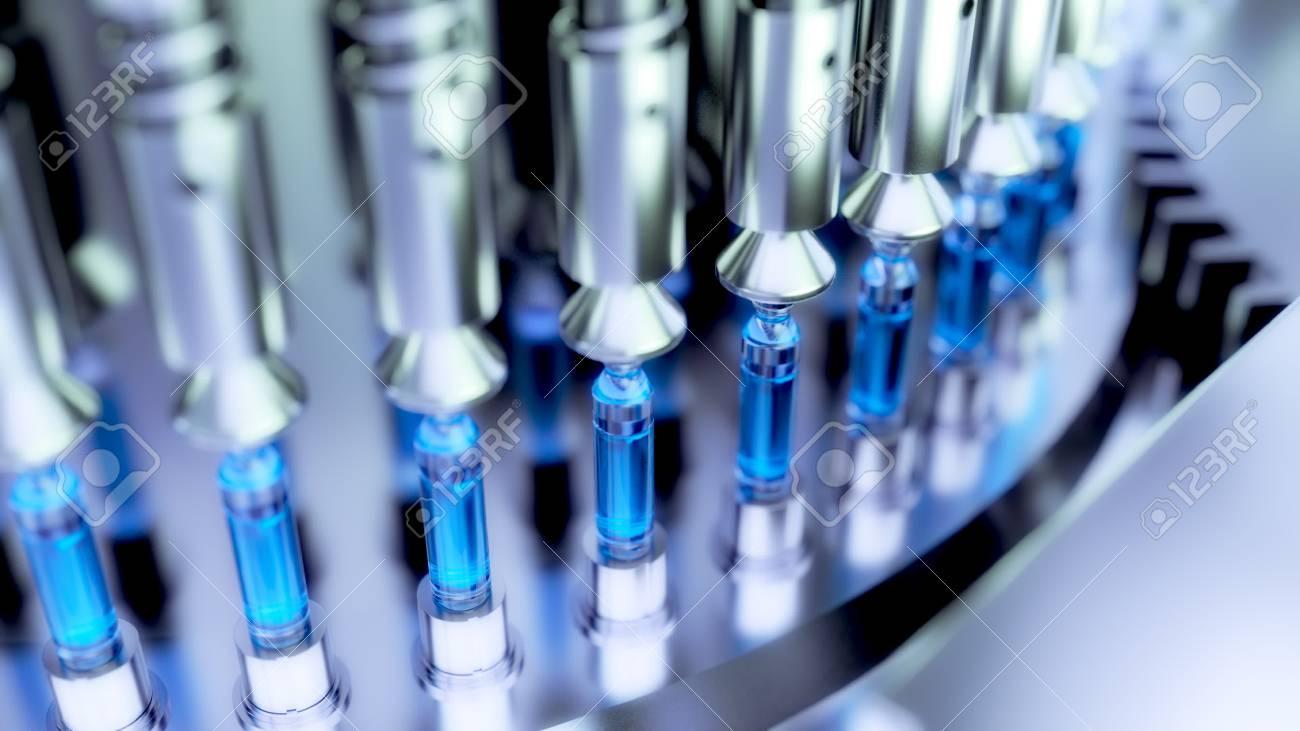 Pharmaceutical Optical Ampoule / Vial Inspection Machine. 3d illustration - 90744992