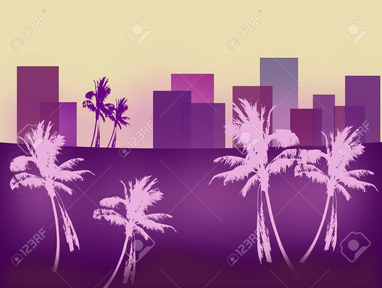 A stylistic image of a skyline   with palm trees in the forground. Stock Photo - 12305955