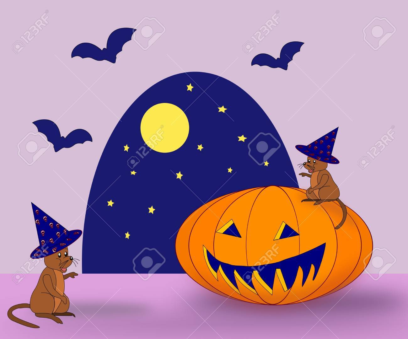 Two mice, a pumpkin and some bats Stock Photo - 13363216