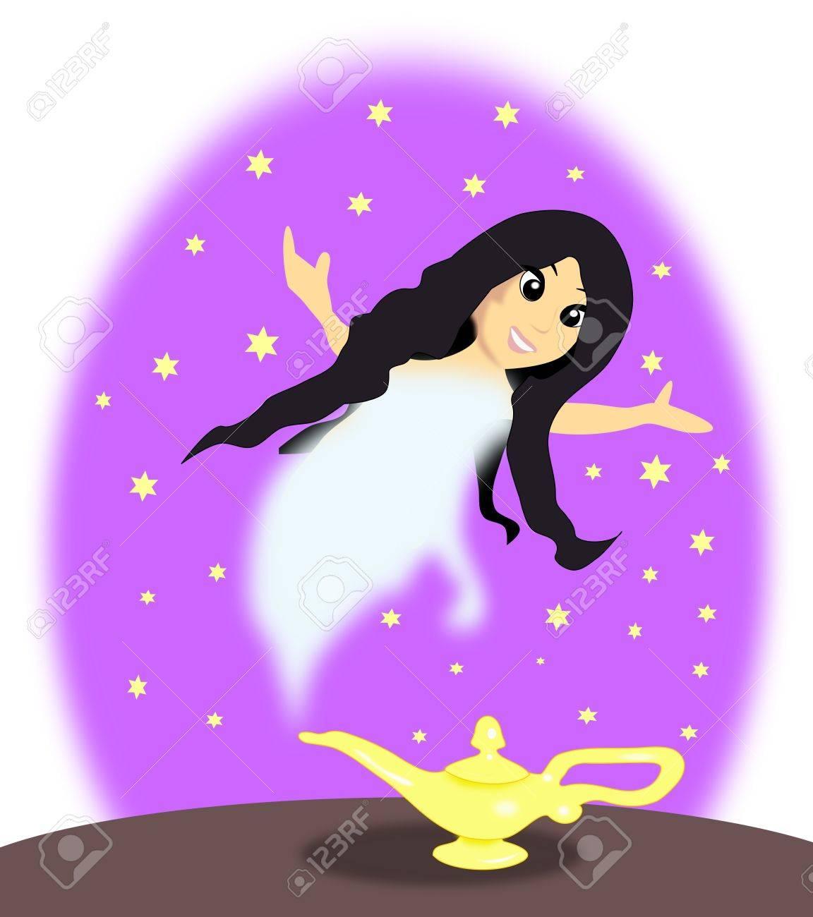 Lampe Magique D Aladdin Avec Un Genie Femelle Sur Un Fond Violet
