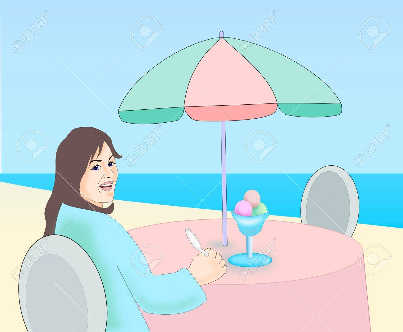 A girl sits with an ice cream on a table at the beach Stock Photo - 20871415
