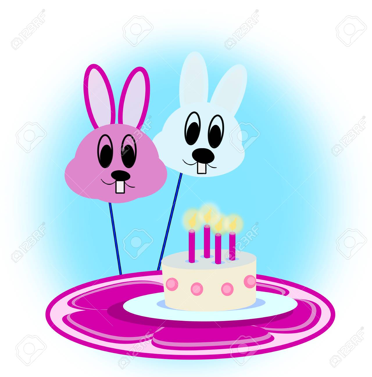 Two Balloons Looking Like Rabbits And A Birthday Cake Stock Photo