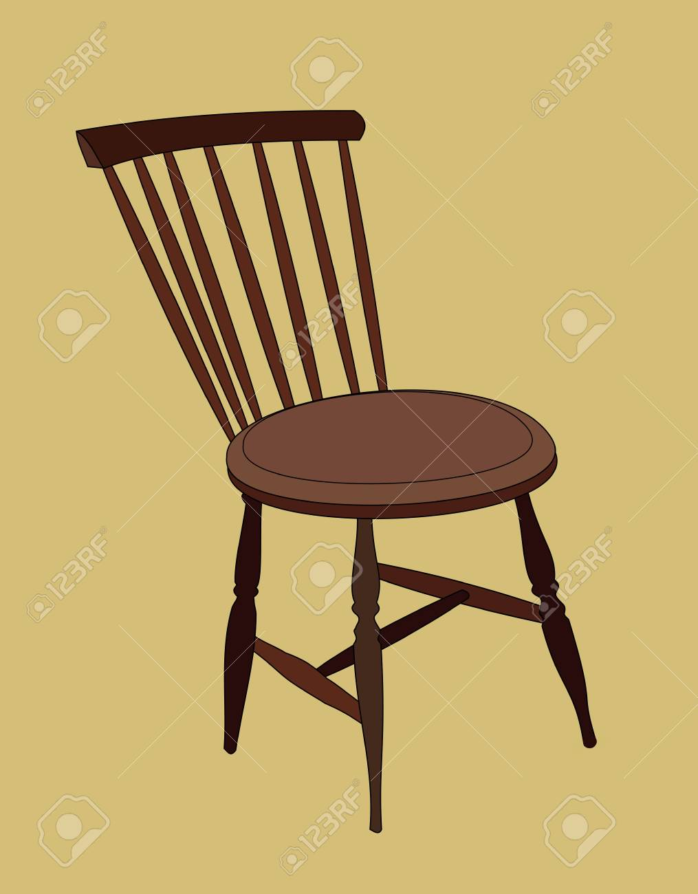 An Old Fashioned Wooden Chair On A Brown Background