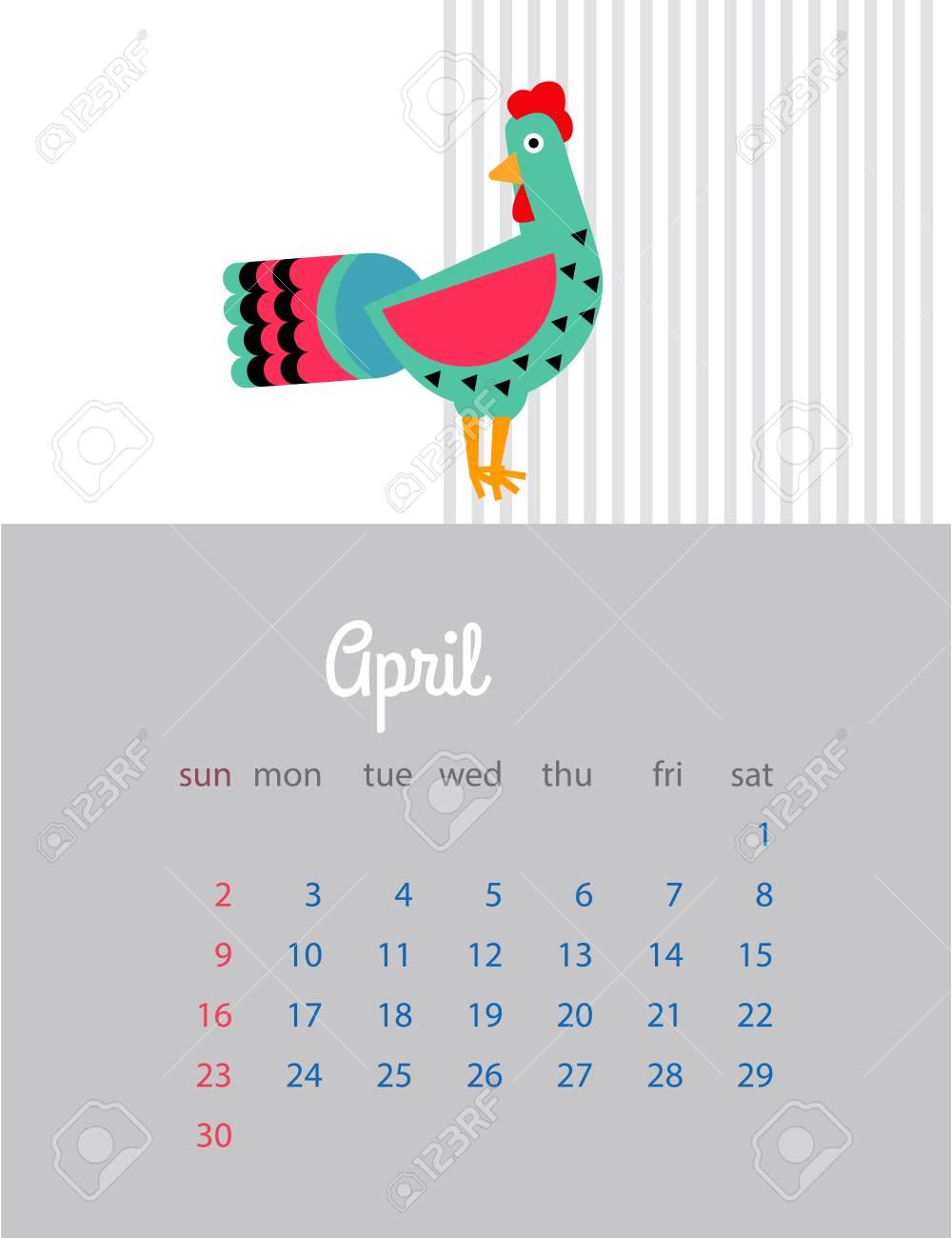 2017 のカレンダー 赤いオンドリの年 赤いオンドリとカレンダー 装飾