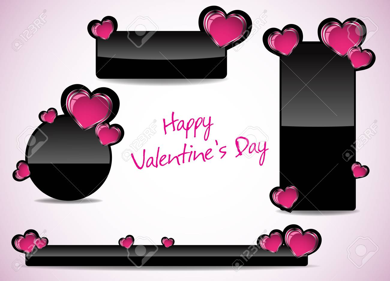 Abstract Valentines Day Banner Design Clip Art Royalty Free Cliparts