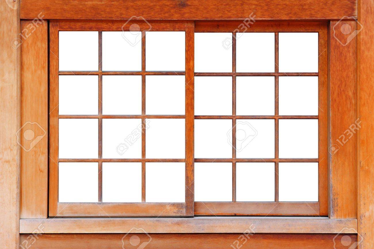 stock photo wood window background frame in white