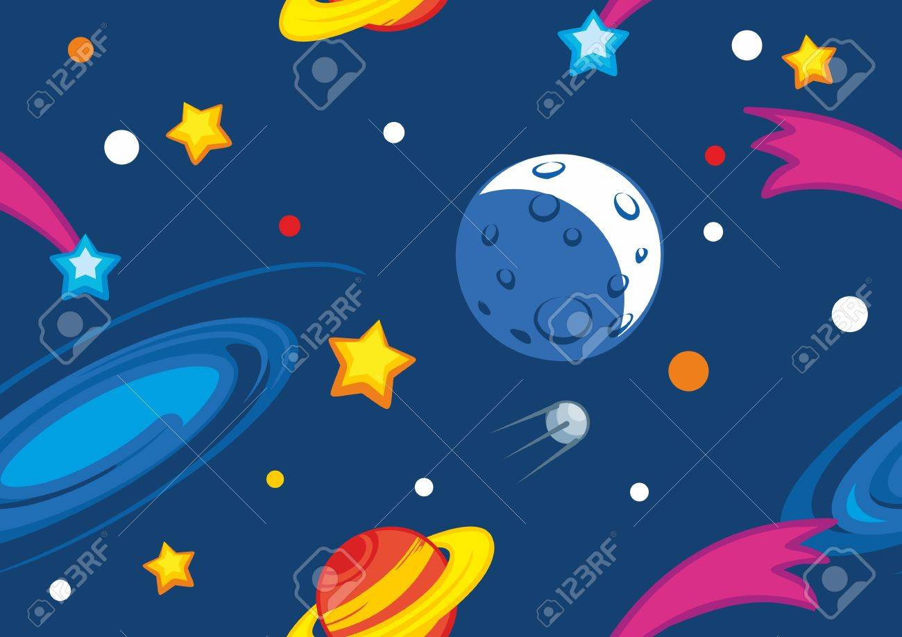 Seamless vector pattern with planets and stars Stock Vector - 12492197
