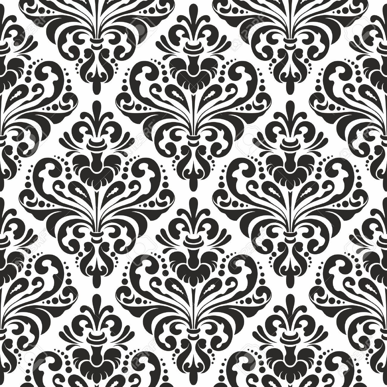 Black And White Seamless Damask Wallpaper Pattern