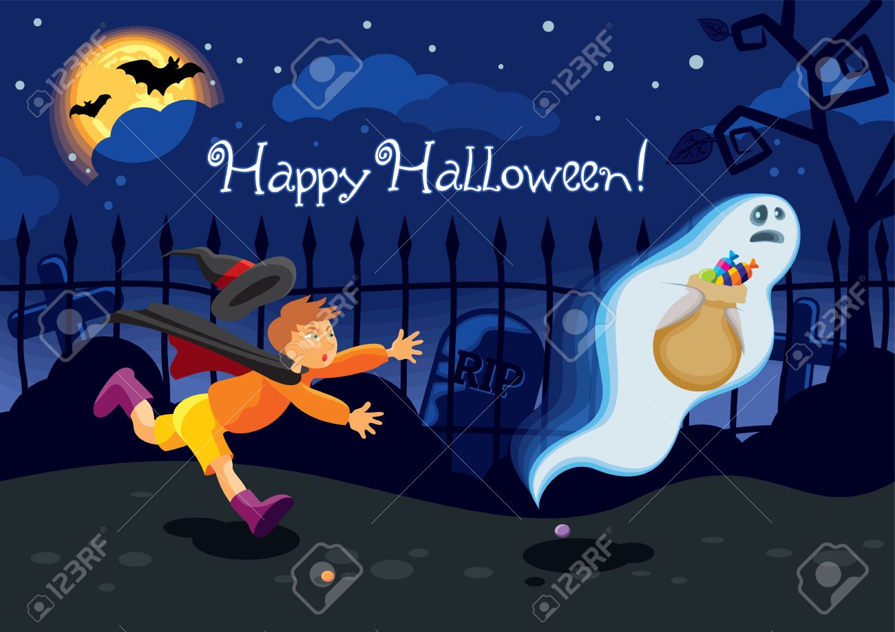 Halloween Card With A Ghost Who Stole The Candies From A Boy Royalty