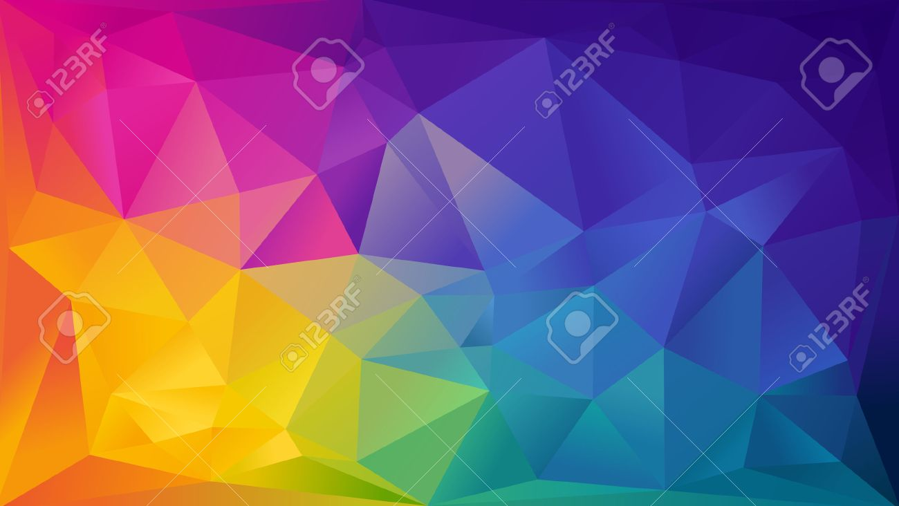 Abstract rainbow background consisting of colored triangles - 30749668