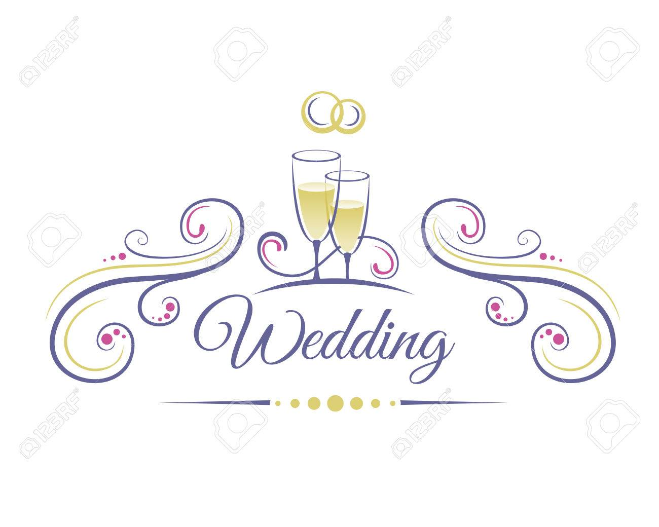 Wedding decoration with two glasses of champagne and wedding wedding decoration with two glasses of champagne and wedding rings stock vector 43153771 junglespirit Image collections