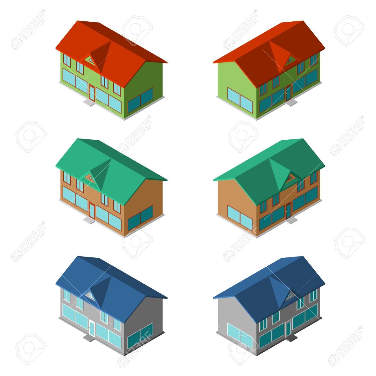 Diverses Petites Maisons Six Batiments De Vecteurs Modernes Clip