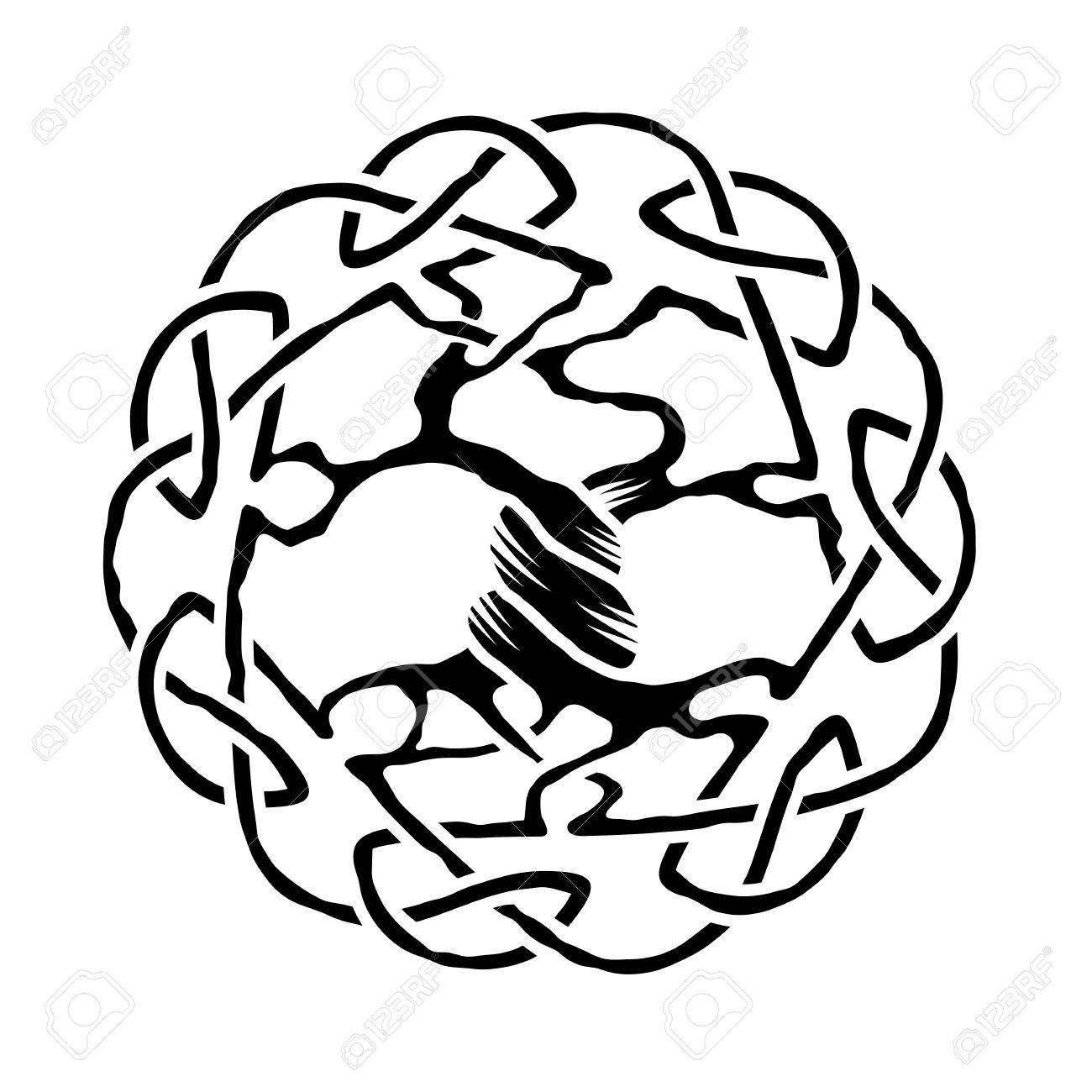 Ilustración Del árbol De La Vida Céltico Versión En Blanco Y Negro