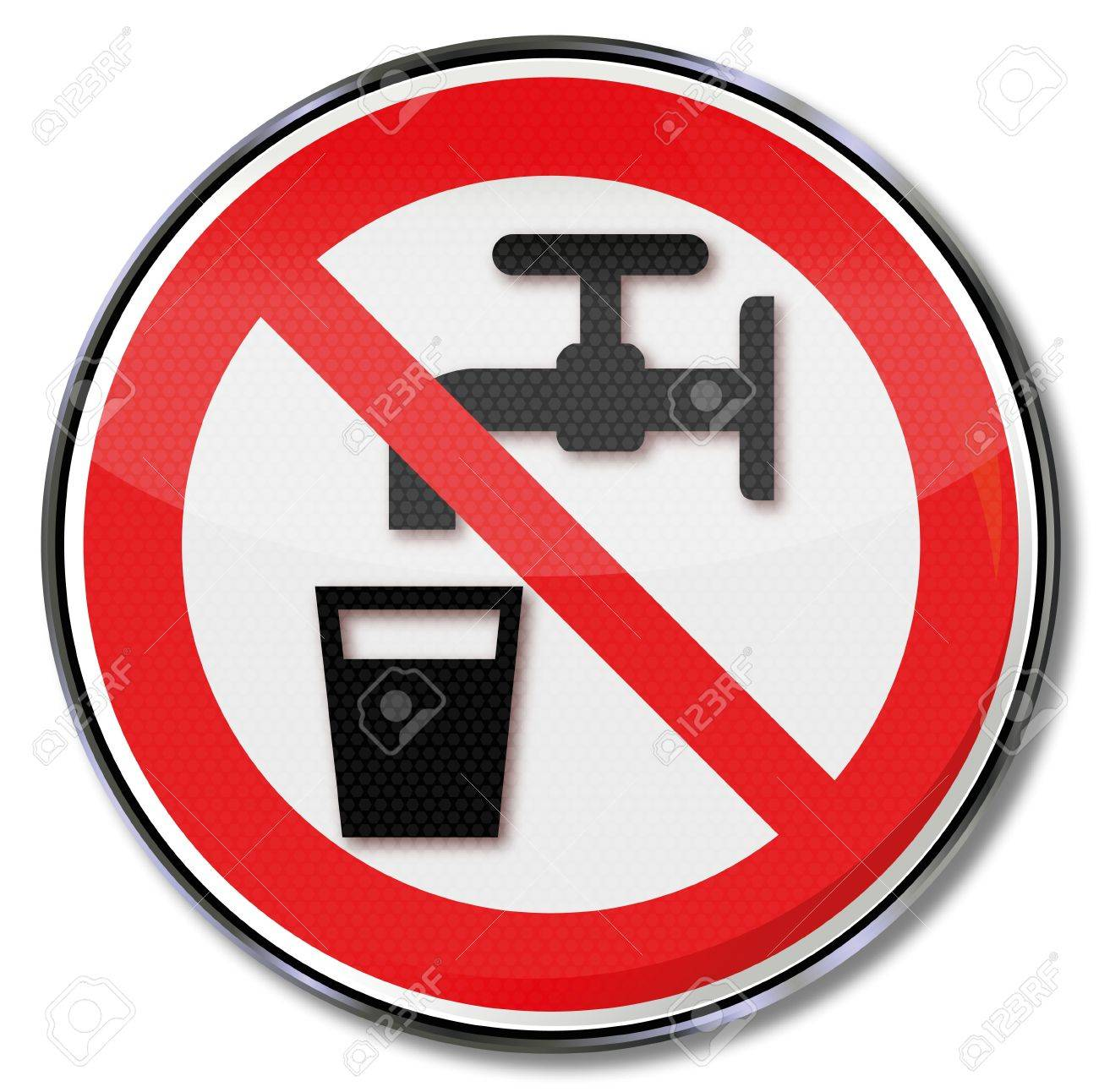 Prohibition signs no drinking water Stock Vector - 14666906