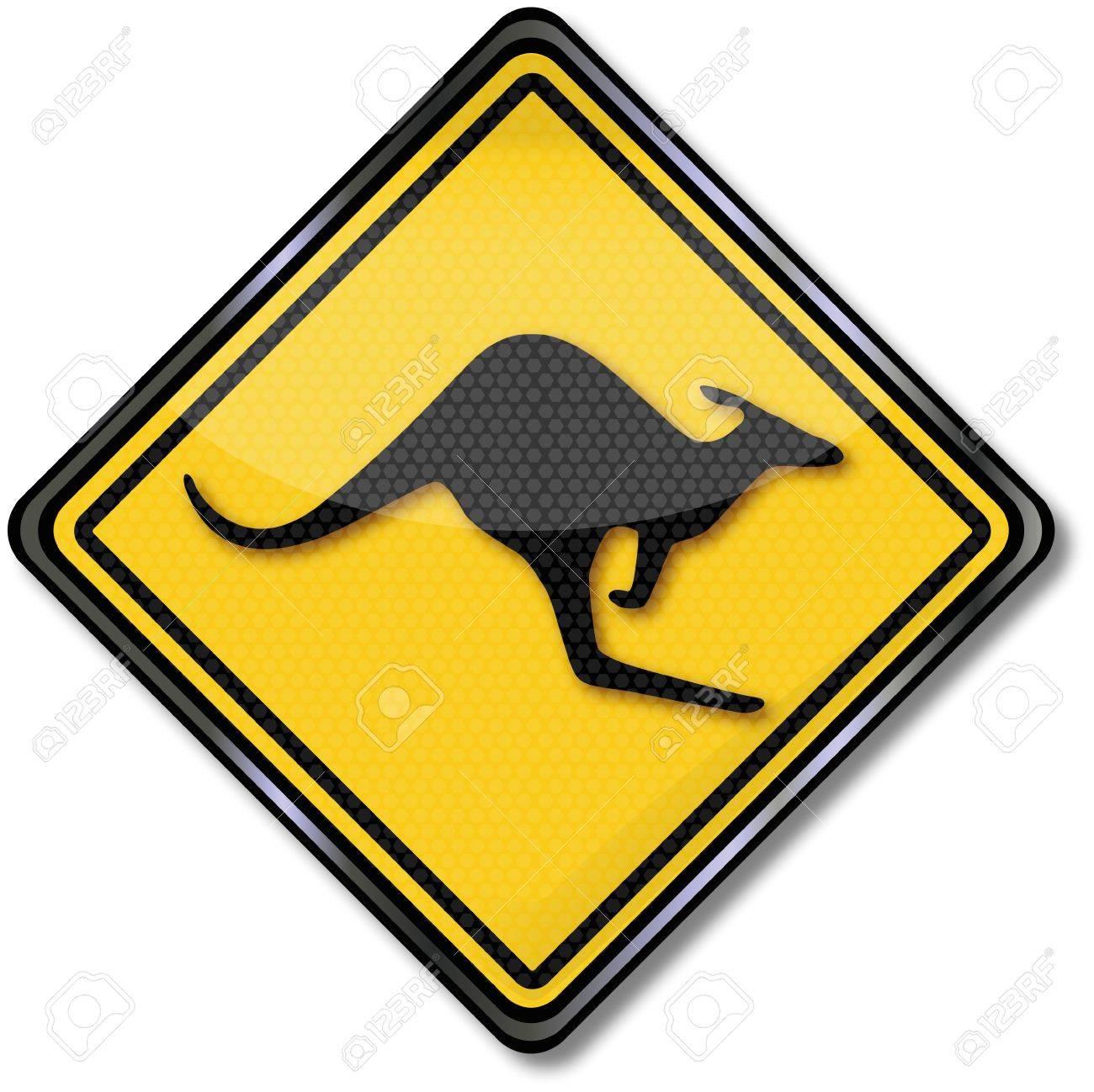 Kangaroo traffic sign Stock Vector - 14777977