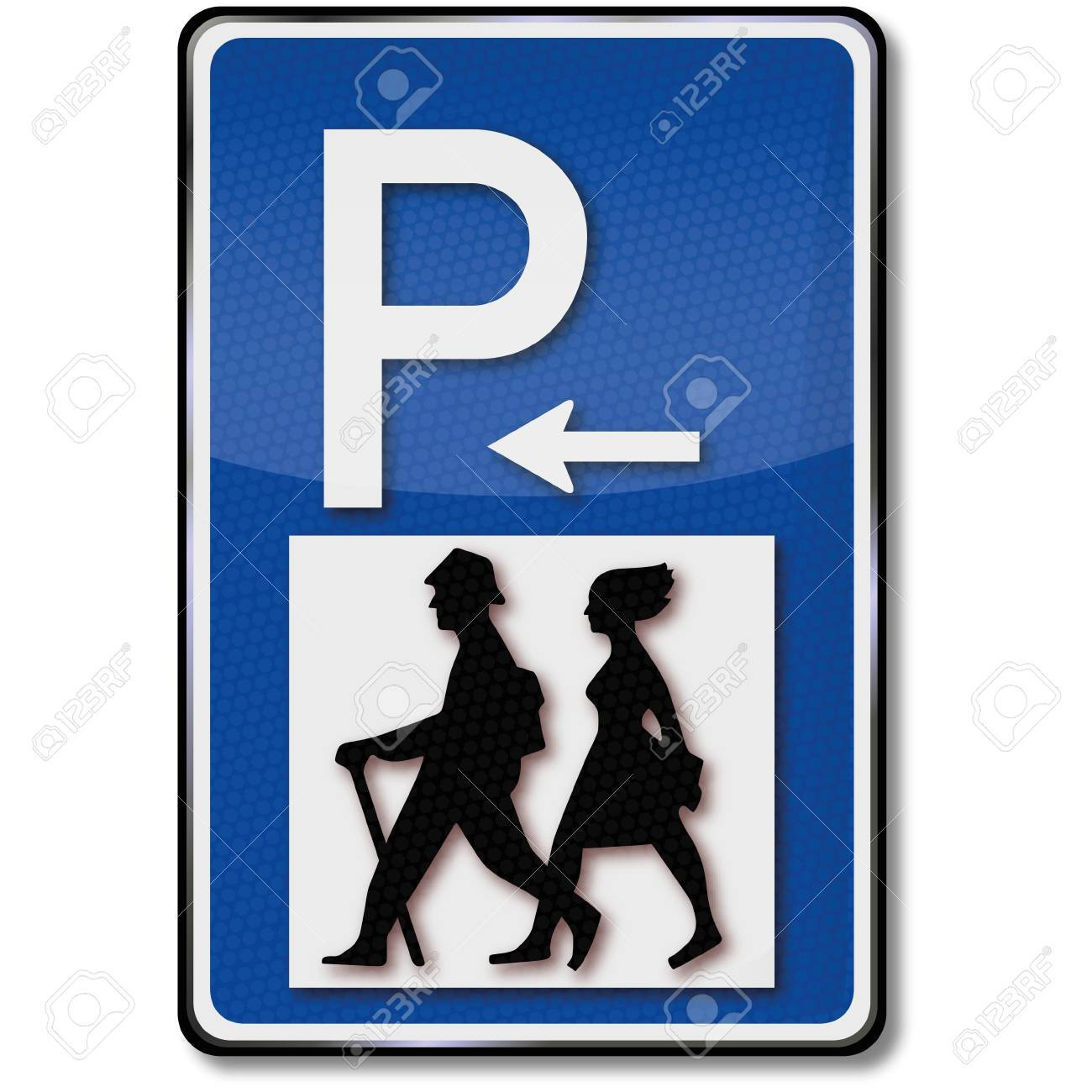 Hikers and parking traffic sign Stock Vector - 14950719