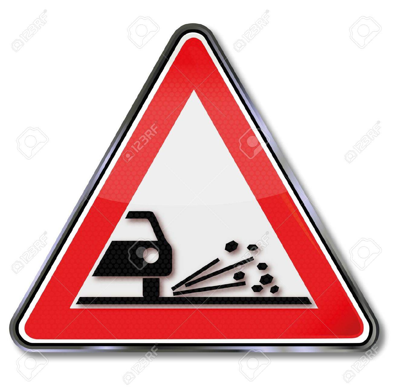 Road sign rockfall Stock Vector - 14981853