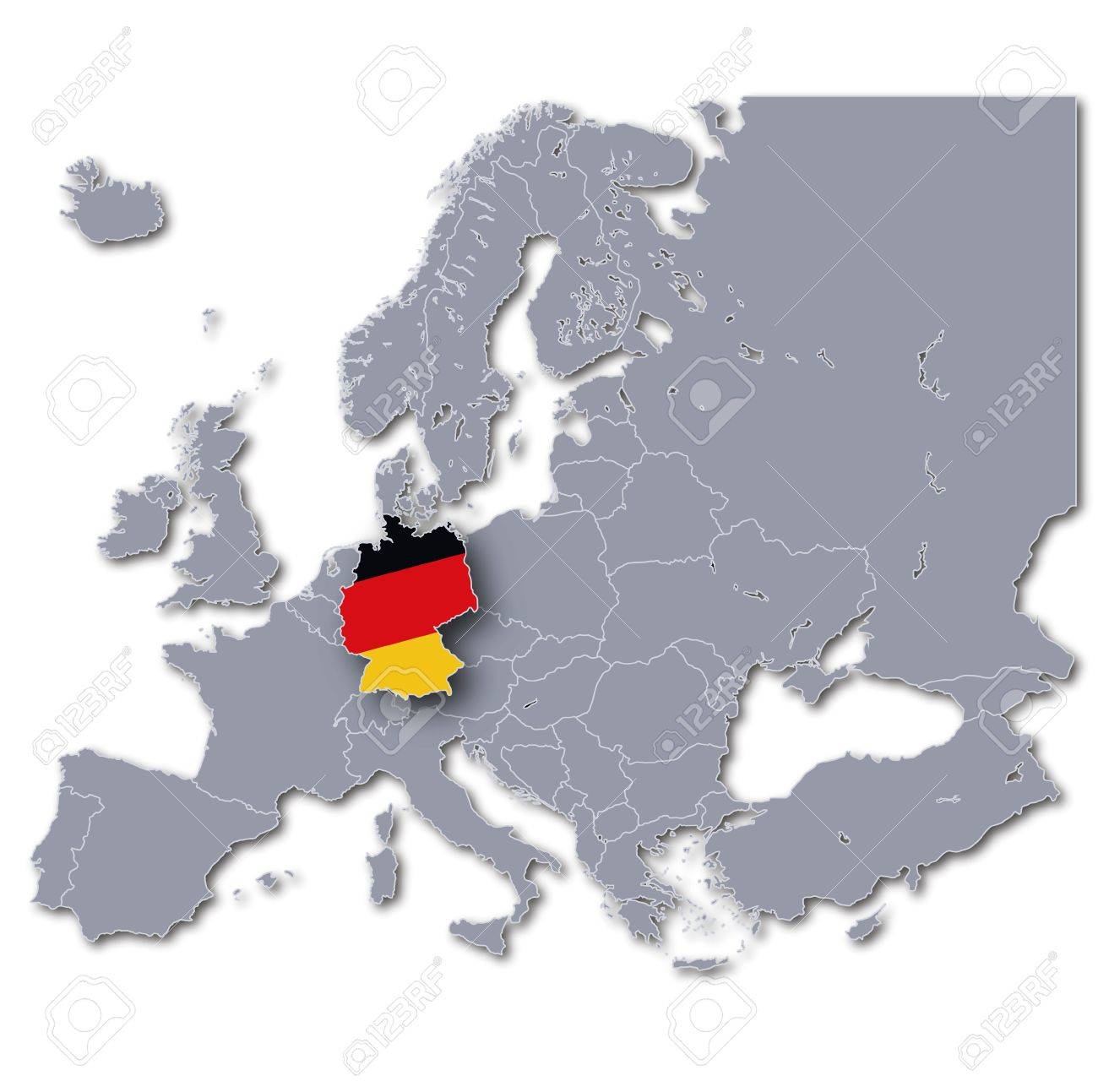 Map Of Europe With Germany Highlighted.Europe Map Germany
