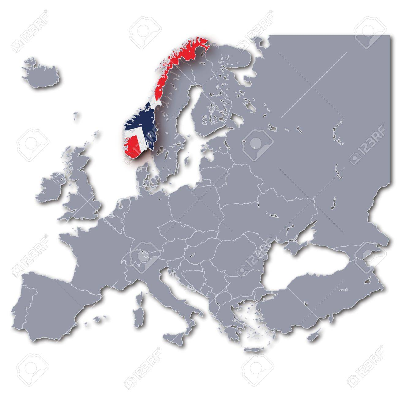 Norway On Europe Map.Europe Map Norway Stock Photo Picture And Royalty Free Image Image