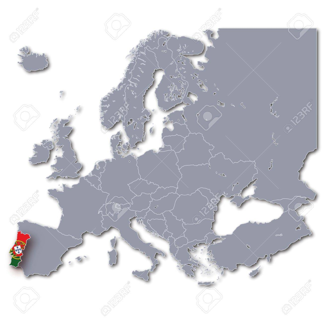 Europe Map Portugal Stock Photo Picture And Royalty Free Image