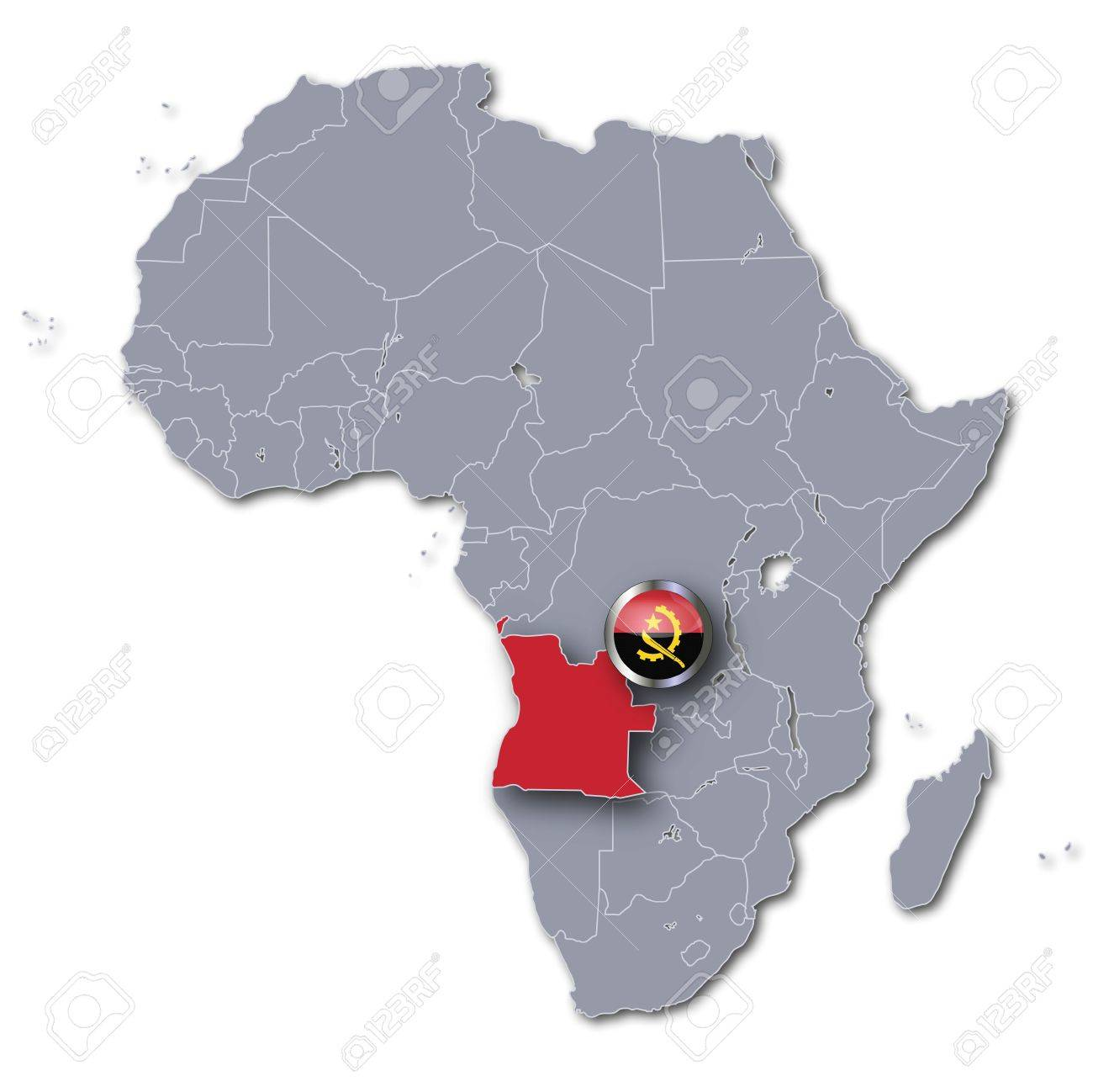 Angola On Africa Map.Africa Map Angola Stock Photo Picture And Royalty Free Image Image