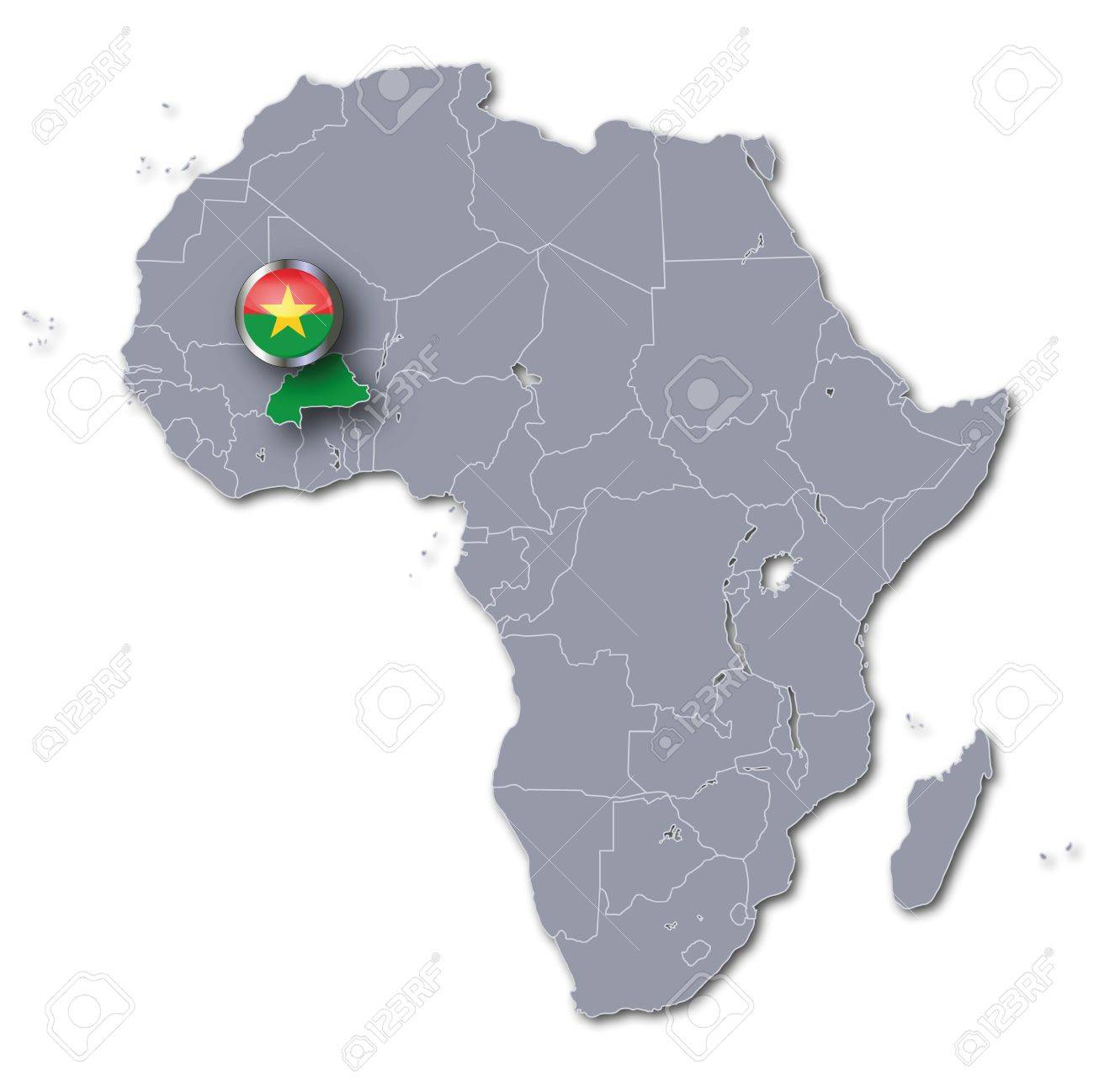 Africa Map Burkina Faso Stock Photo, Picture And Royalty Free