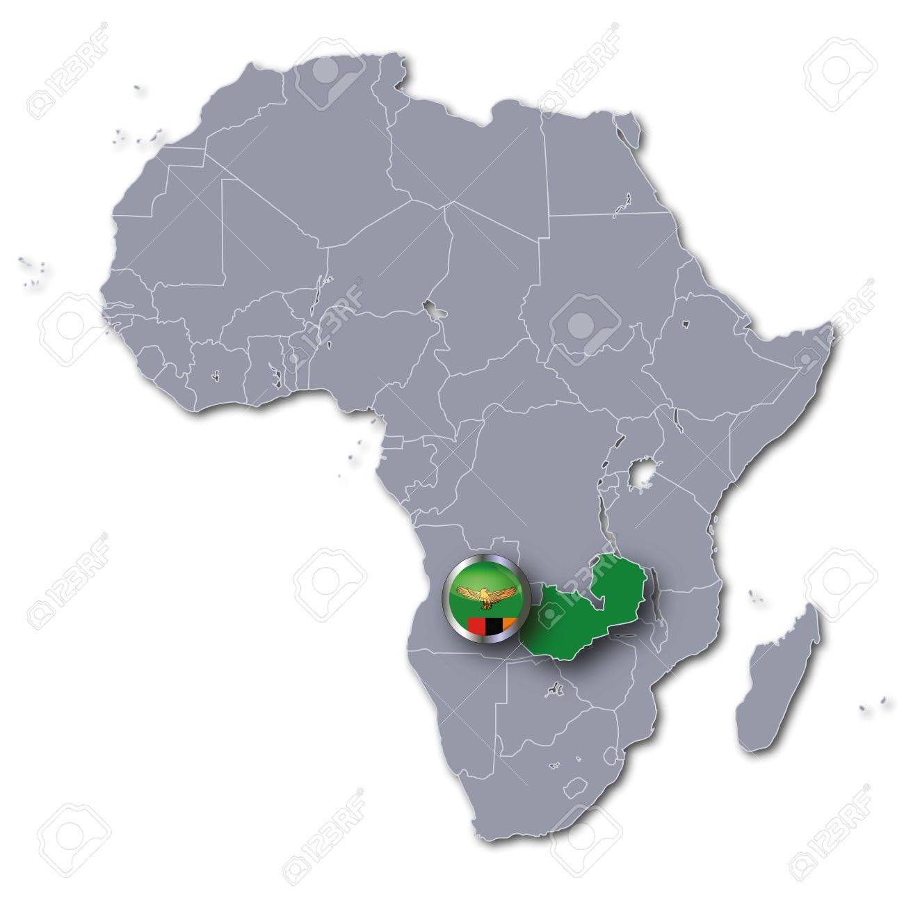 Africa Map Zambia Stock Photo Picture And Royalty Free Image Image