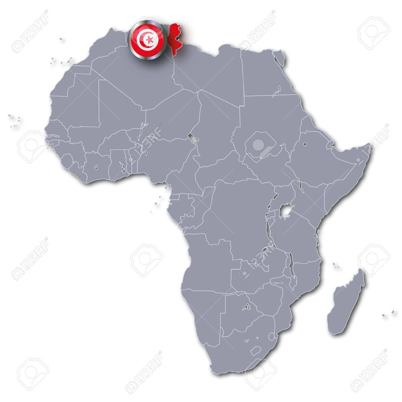 Africa map Tunisia Stock Photo - 17773514