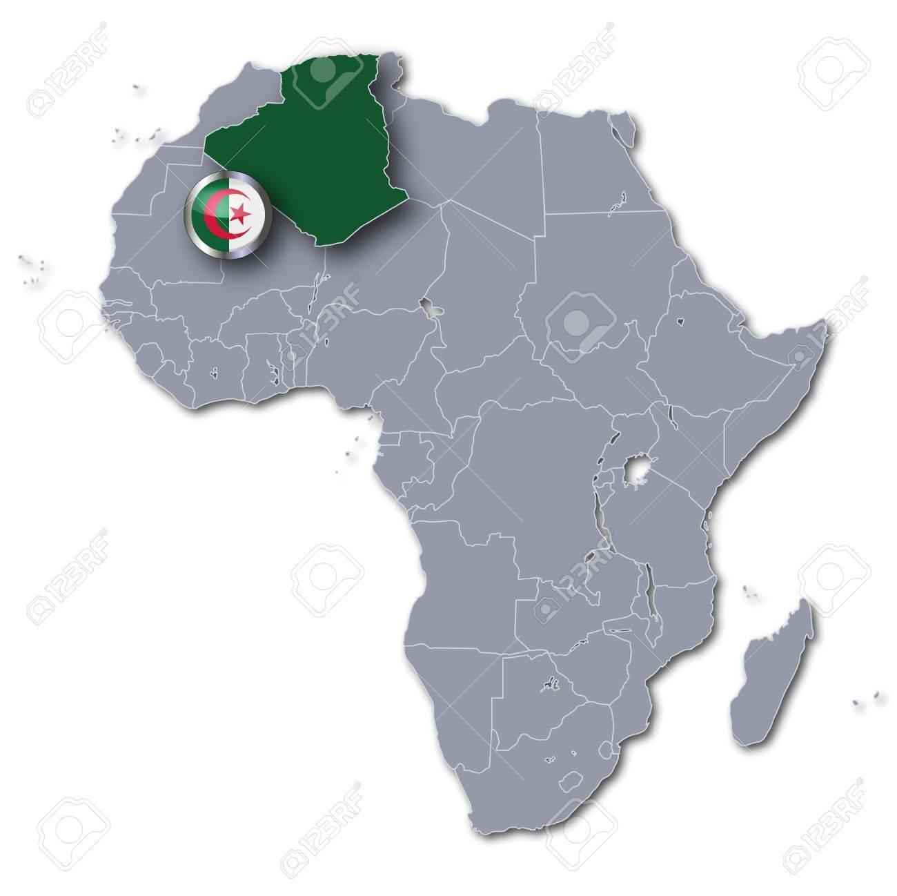 Africa Map With Algeria Stock Photo Picture And Royalty Free Image