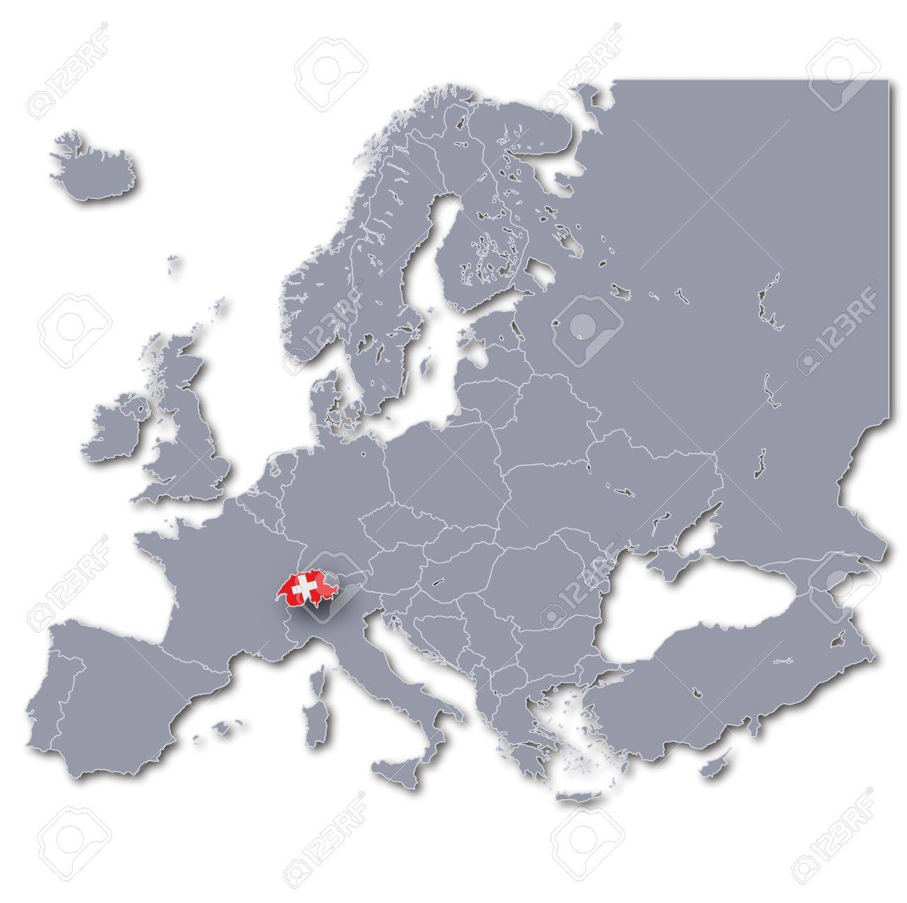 Map Of Europe With Switzerland Stock Photo Picture And Royalty Free