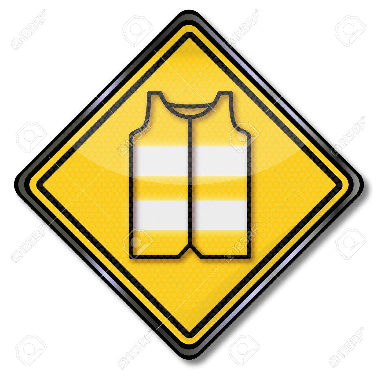 Sign with safety vest for motorists and car driver - 20411096