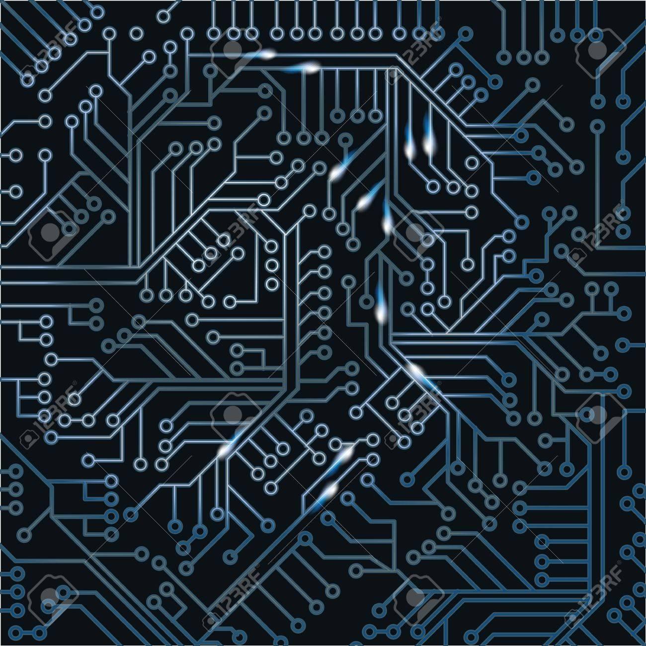 Dark computer board with wiring Stock Vector - 20458069